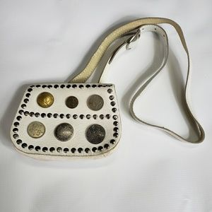 Handbags - Vintage White Leather Coin Adjustable Mini Bag